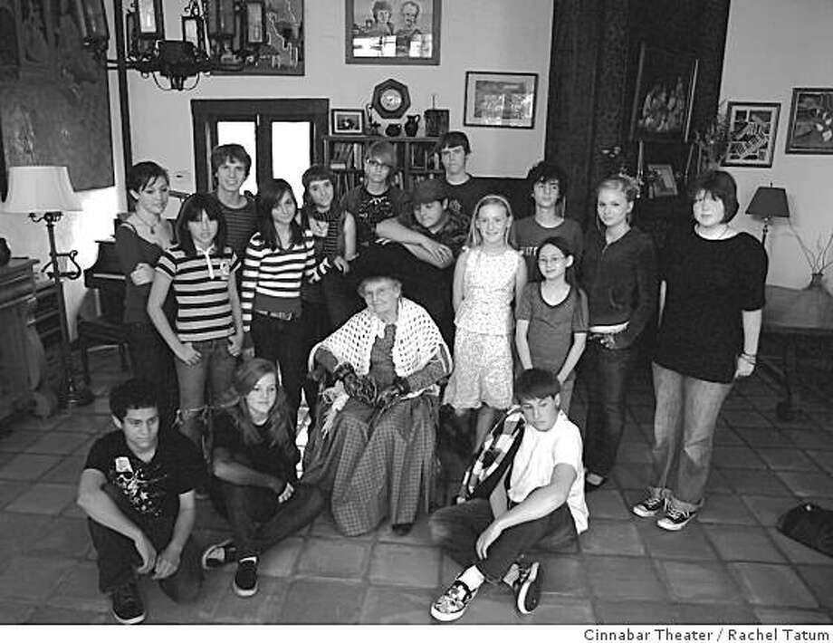 "Cinnabar Young Rep players will present ""Petaluma River Anthology"" July 4, 2008 at SesquiFest. Millie King (center) is one of the Petalumans interviewed by the young actors for the play. King is a docent at the Petaluma Historical Museum. OLYMPUS DIGITAL CAMERA Photo: Rachel Tatum, Cinnabar Theater"