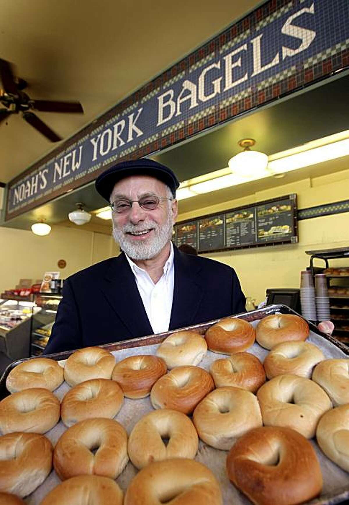 Noah Alper, founder of the Noah's Bagels restaurant chain, visits the original location on College Avenue in Berkeley, Calif., on Thursday, Dec. 3, 2009.