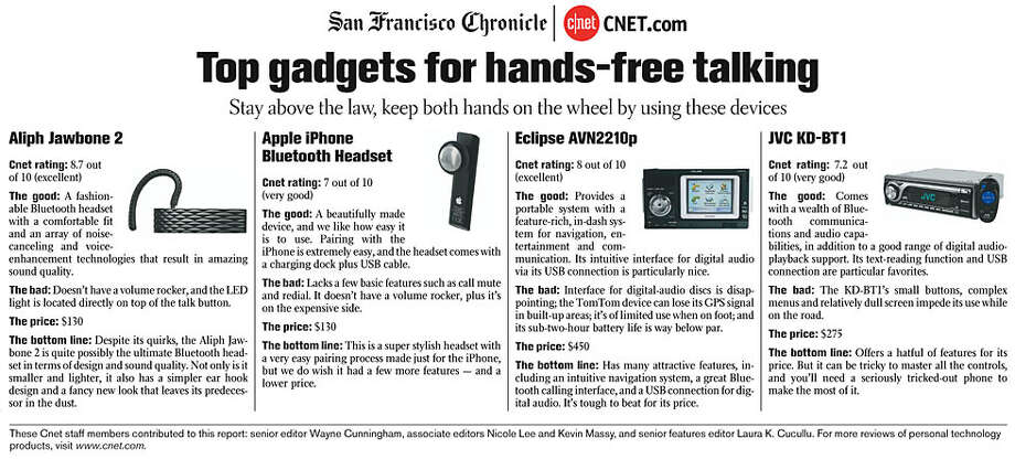 Top gadgets for hands-free talking. Photos courtesy of CNET
