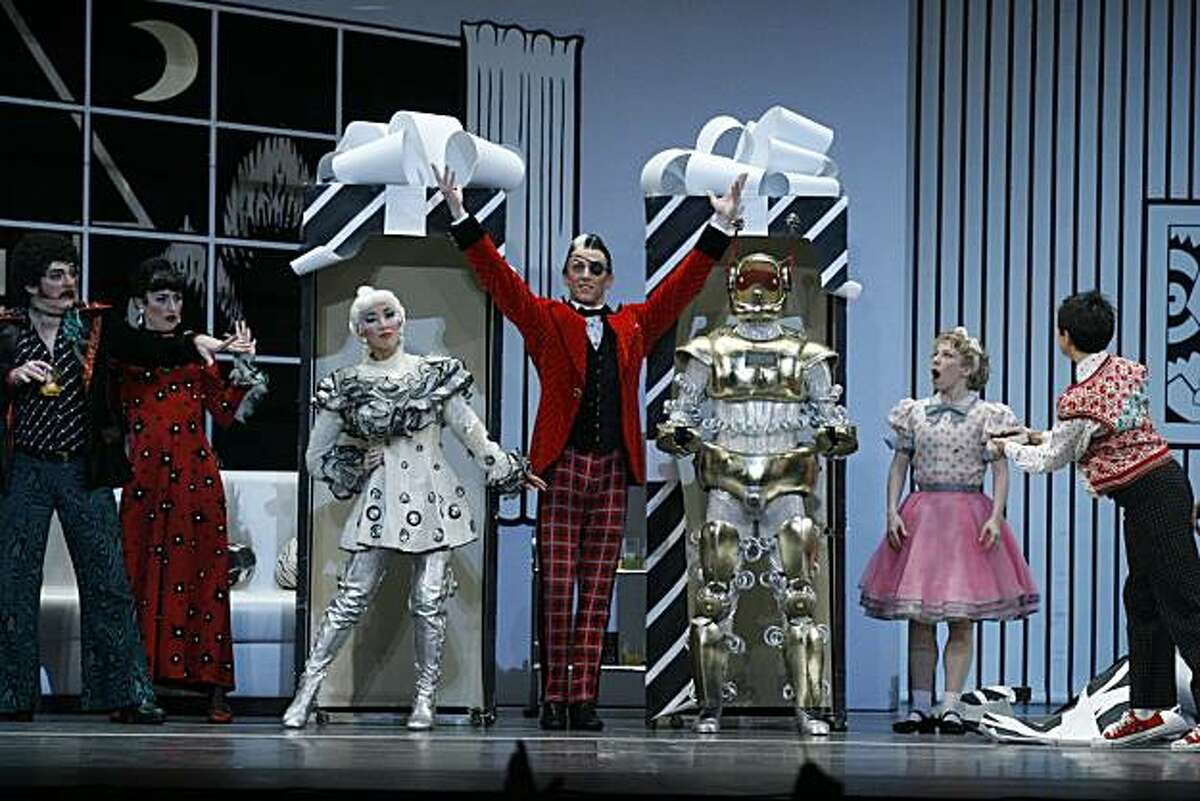 """A scene from Mark Morris' """"The Hard Nut,"""" with the Barbie Doll and Robot characters Berkeley, Calif., Dec. 9, 2005: Mark Morris Dance Group performs The Hard Nut performed at Zellerbach Auditorium on the UC Berkeley Campus, Berkeley, Calif. (Photo By: Peter DaSilva for The New York Times)"""