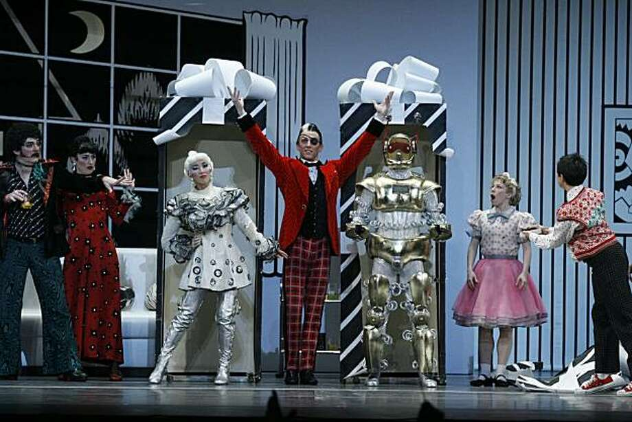"""A scene from Mark Morris' """"The Hard Nut,"""" with the Barbie Doll and Robot characters Berkeley, Calif., Dec. 9, 2005: Mark Morris Dance Group performs The Hard Nut performed at Zellerbach Auditorium on the UC Berkeley Campus, Berkeley, Calif. (Photo By: Peter DaSilva for The New York Times) Photo: Peter Da Silva, Cal Performances"""