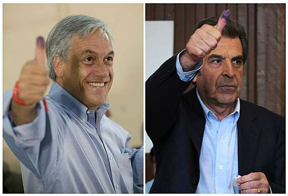 Combo picture of Chilean presidential candidate for National Renewal party, Sebastian Pinera (L) and former Chilean President (1994-2000)and presidential candidate of the ruling center-left coalition, Eduardo Frei, showing their dyed thumbs after voting during the national elections, in Santiago and La Union, some 800 km south of the capital, respectively, on December 13, 2009. Conservative billionaire Pinera, with 44 percent of the votes, and Frei, with 32, shape up for a run-off election next January 17, according to partial official results. AFP PHOTO / MARTIN BERNETTI - CLAUDIO SANTANA (Photo credit should read MARTIN BERNETTI/AFP/Getty Images) Photo: Martin Bernetti, AFP/Getty Images
