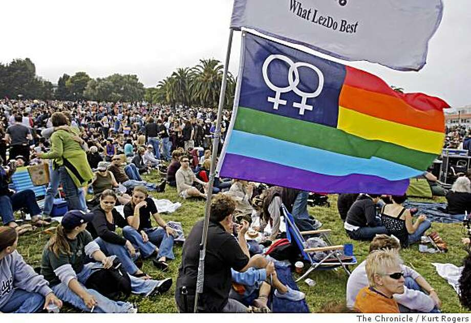 The crowd at Dolores Park is seen before the start of the annual Dyke March on Saturday, June 28, 2008 in San Francisco.  Photo by Kurt Rogers / The Chronicle Photo: Kurt Rogers, The Chronicle
