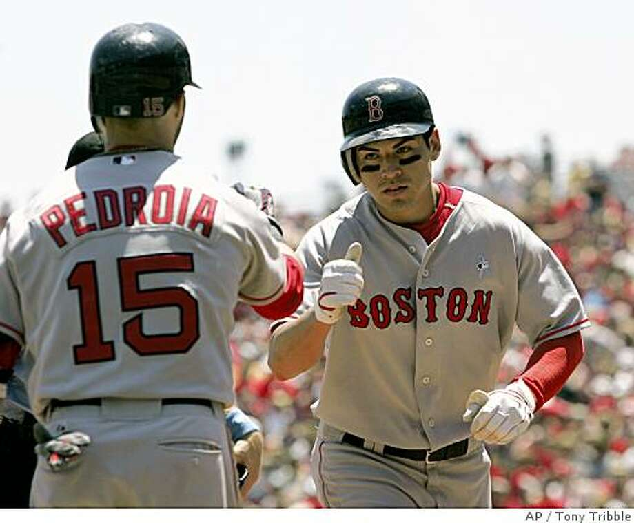 Boston Red Sox' Jacoby Ellsbury, right, is congratulated by Dustin Pedroia, left, after Ellsbury hit a solo home run off Cincinnati Reds pitcher Homer Bailey in the third inning of a baseball game, Sunday, June 15, 2008 in Cincinnati. The Red Sox won 9-0. (AP Photo/Tony Tribble) Photo: Tony Tribble, AP