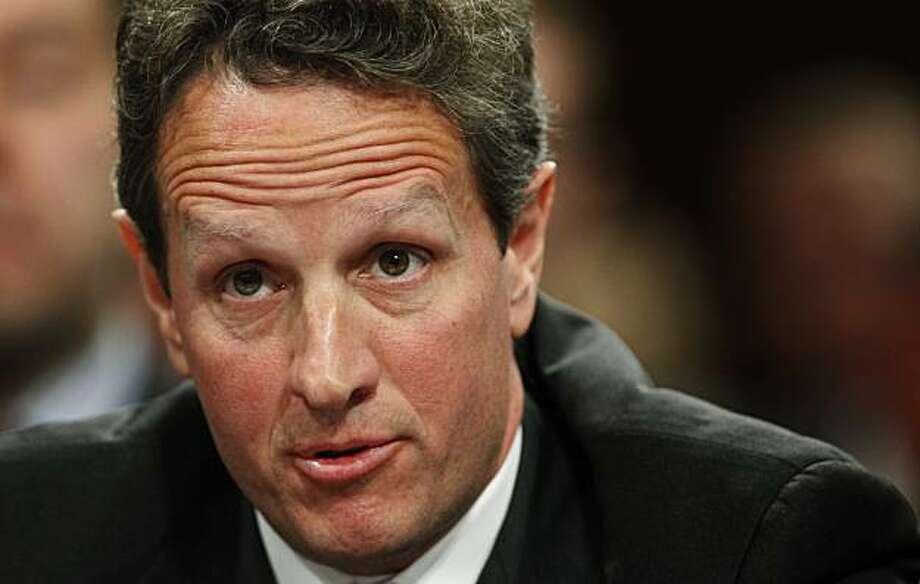 Treasury Secretary Timothy Geithner testifies on Capitol Hill in Washington, Wednesday, Dec. 2, 2009, before the Senate Agriculture Committee hearing on over the counter derivatives and efforts to address systemic risk in the financial sector.   (AP Photo/Manuel Balce Ceneta) Photo: Manuel Balce Ceneta, AP
