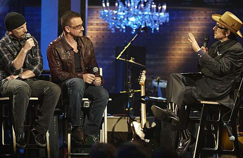 "The Edge, left, Bono and Elvis Costello on the Sundance Channel series, ""Specatacle: Elvis Costello with Bono & The Edge."" Photo: Ken Woroner, Tri-Fi 2 Prod."
