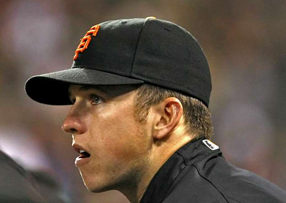 The San Francisco Giants catcher Buster Posey watches the game against the San Diego Padres Tuesday Sept. 8, 2009, in San Francisco, Calif. Photo: Lacy Atkins, The Chronicle
