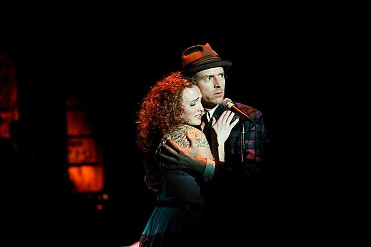 Kelsey Venter (left) as Polly Peachum and Jeff Wood as Macheath in Shotgun Players' staging of