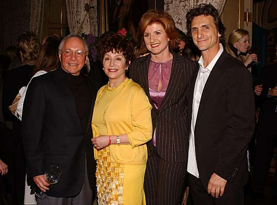 "BEVERLY HILLS, CA - APRIL 7: (US TABS AND HOLLYWOOD REPORTER OUT) Hosts (L-R) Stewart and Lynda Resnick, writer Arianna Huffington and producer Lawrence Bender pose at the launch party for Huffington's new book ""Fanatics and Fools : The Game Plan For Winning Back America"" on April 7, 2004 at a private residence in Beverly Hills, California.  (Photo by Amanda Edwards/Getty Images) Photo: Amanda Edwards, Getty Images"