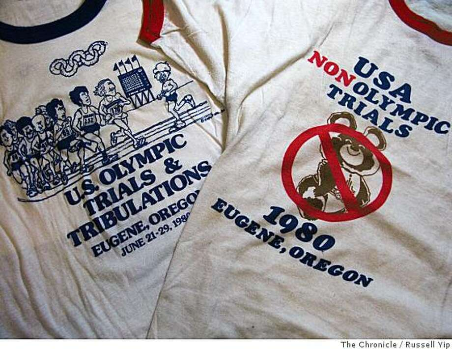 T-shirts from the 1980 U.S. Olympic track and field trials in Eugene, Oregon reflect the sentiment of the times.  Photo by Russell Yip / The Chronicle Photo: Russell Yip, The Chronicle