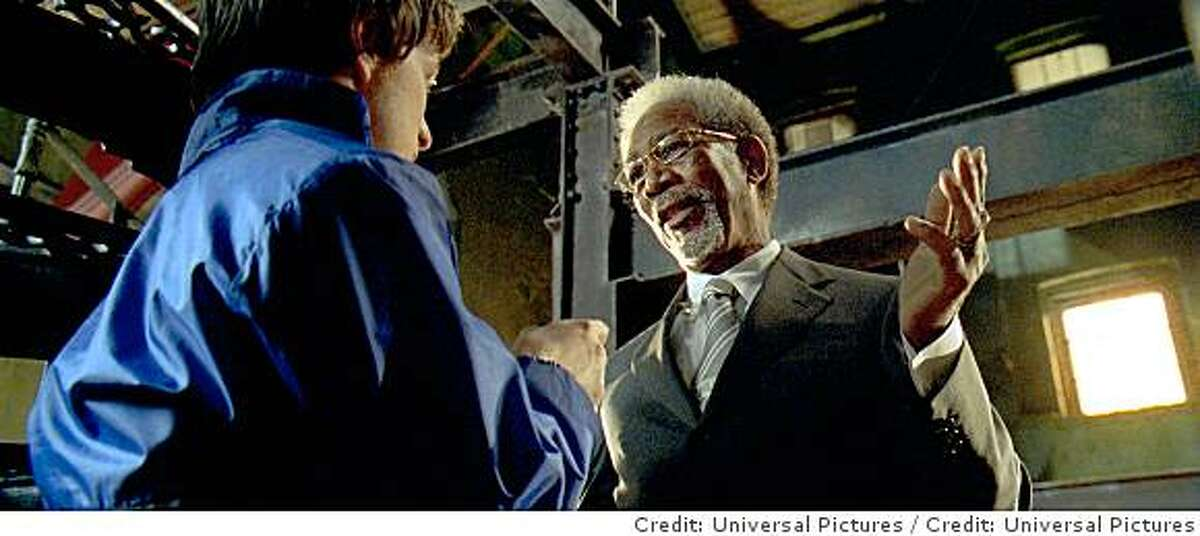 (L to R) Wesley (JAMES MCAVOY) is introduced to the Fraternity by Sloan (MORGAN FREEMAN) in the action-thriller that tells the tale of one apathetic nobody?s transformation into an unparalleled enforcer of justice?Wanted. Credit: Universal Pictures