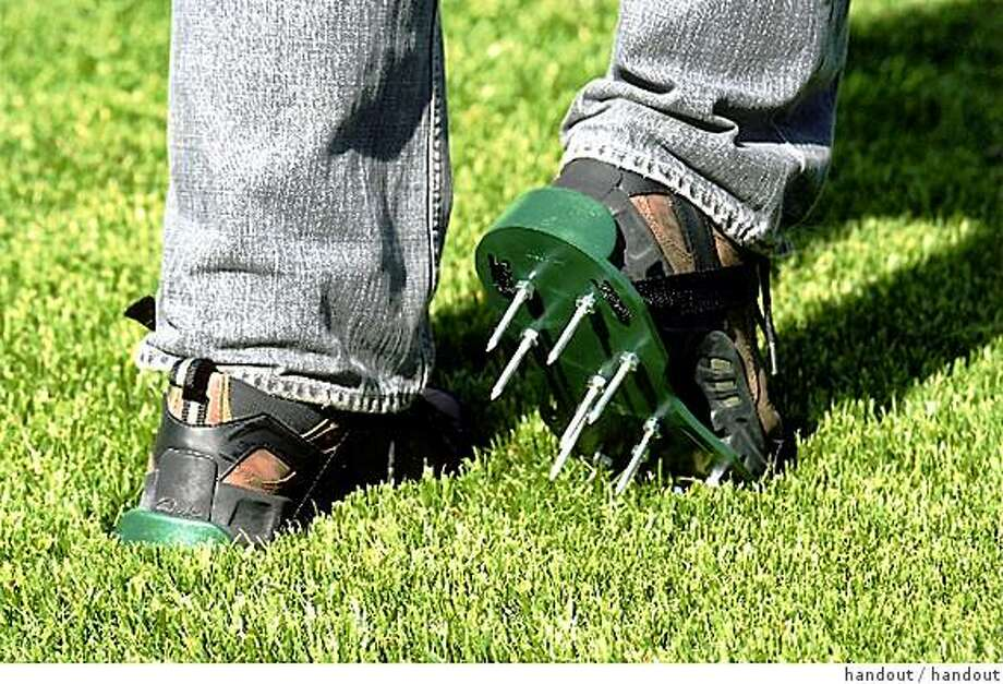 hotstuff25.jpg Aerating lawn shoes by Clean Air Gardening, Dallas, TX.handout/ handout Photo: Handout