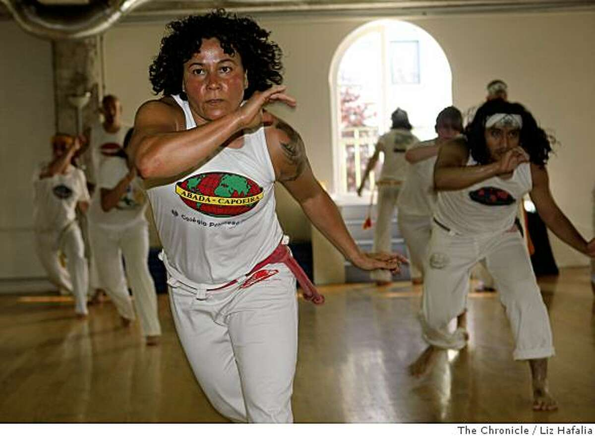 M�rcia Treidler is the founder and artistic director of a Mission district center that teaches capoeira, an Afro-Brazilian martial art in San Francisco, Calif., on Thursday, June19, 2008. Photo by Liz Hafalia/The Chronicle