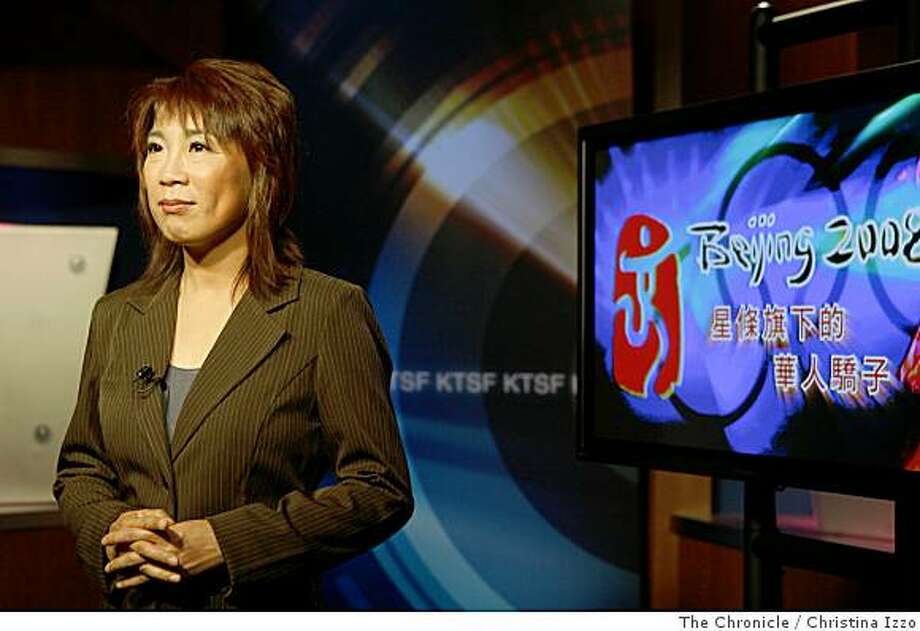 Mei-Ling Sze, managing editor and senior news anchor, during a broadcast Thursday night introducing a story about an Olympic bound Chinese ping-pong player. KTSF Television is billing itself as the go-to station for the Olympic Games in China. Thursday, June 19, 2008 in Brisbane, Calif. Photo By Christina Izzo/ The Chronicle Photo: Christina Izzo, The Chronicle