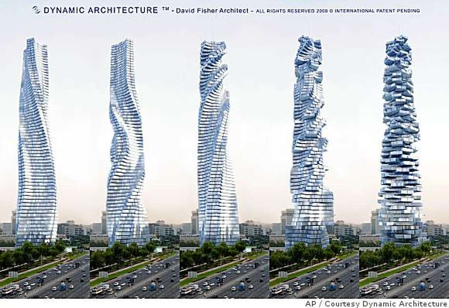 "This artist rendering released by Dynamic Architecture shows a rotating skyscraper that is to be built in Dubai, in various stages of movement. An Italian architect said he is poised to start construction on the new skyscraper that will be ""the world's first building in motion,"" an 80-story tower with revolving floors that give it an ever-shifting shape. (AP Photo/Dynamic Architecture) ** NO SALES ** Photo: Courtesy Dynamic Architecture, AP"