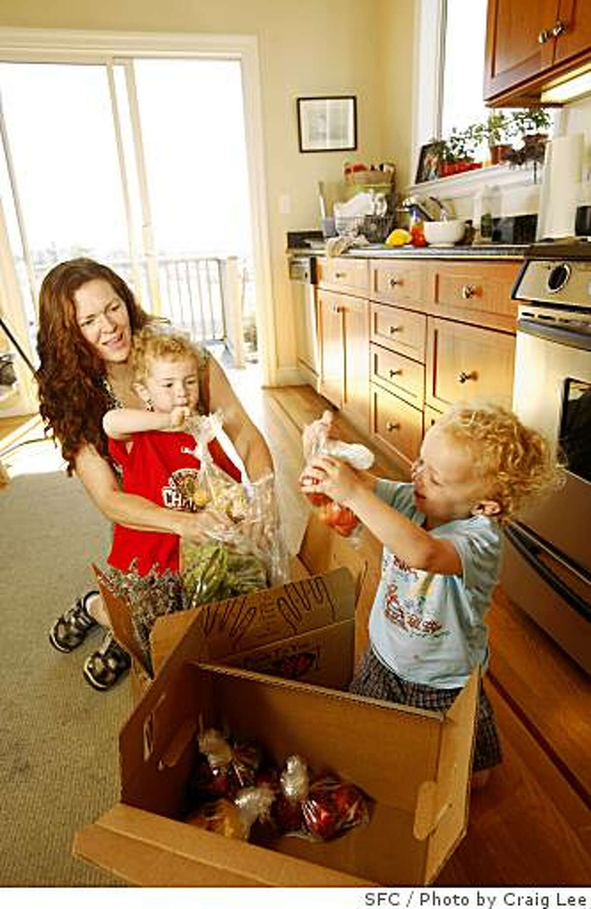"""Julie Caskey and her 2 year-old twin boys, Jonas Kra-Caskey (in front of Julie) and Jasper Kra-Caskey (right) looking over their box of fruits and vegetables delivered by Capay's """"Farm Fresh to You"""" in San Francisco, Calif., on June 18, 2008Photo by Craig Lee / The Chronicle"""