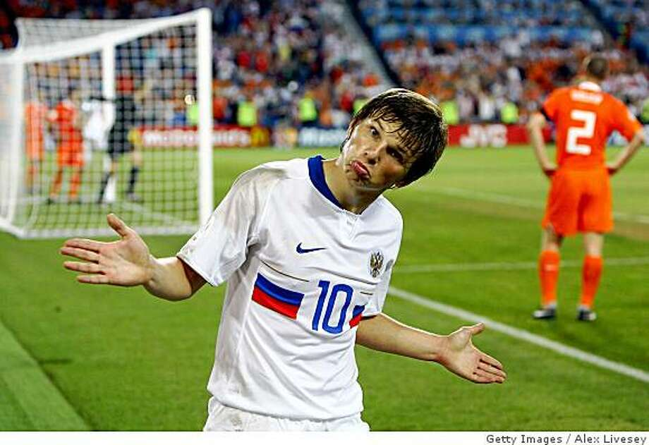 BASEL, SWITZERLAND - JUNE 21:  Andrei Arshavin of Russia celebrates Russia's third goal during the UEFA EURO 2008 Quarter Final match between Netherlands and Russia at St. Jakob-Park on June 21, 2008 in Basel, Switzerland.  (Photo by Alex Livesey/Getty Images) Photo: Getty Images