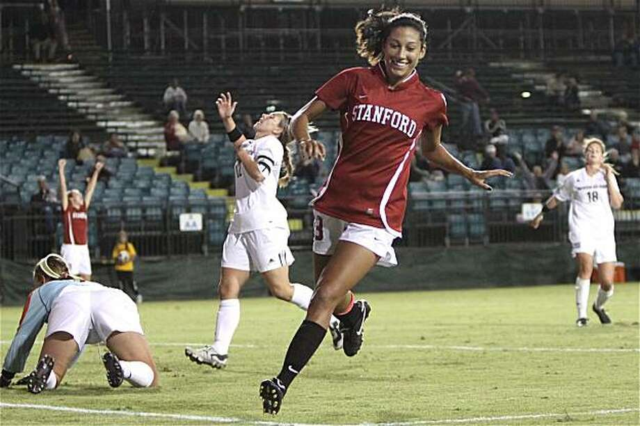 Christen Press, right after scoring for Stanford soccer, in a 6-2 defeat of Santa Clara in Santa Clara on Oct. 1. Photo: Rick Bale, Stanford Athletics