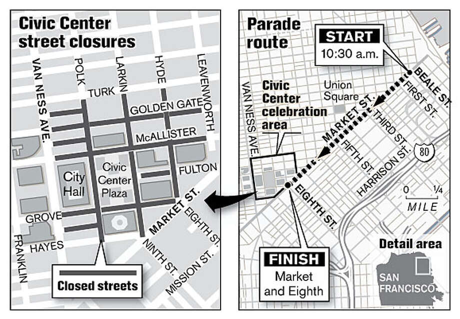 The LGBT Pride Parade route and street closures.