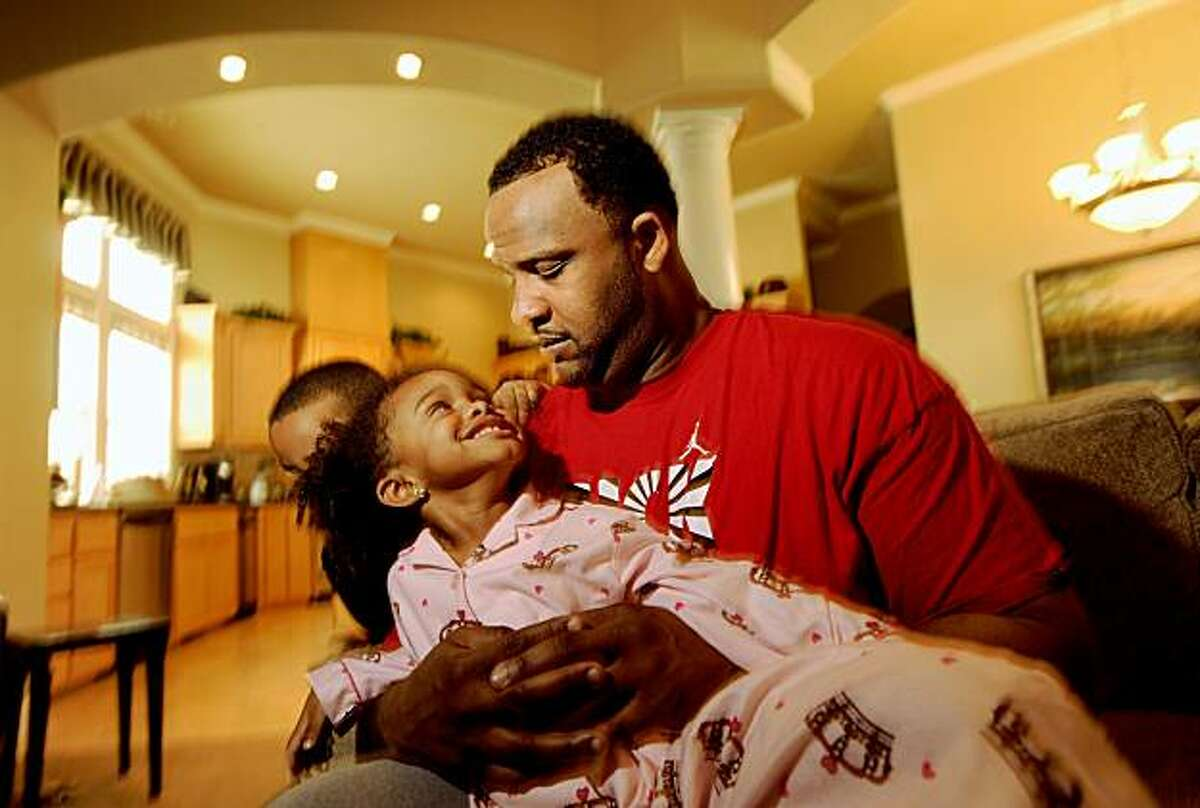 Yankee pitcher CC Sabathia spends time with his daughter Jaden Sabathia, 4, on Friday, Nov. 27, 2009, in Fairfield, Calif.
