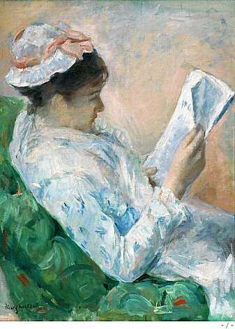 "Mary Cassatt's ""Woman Reading"", 1878-1879. Oil on canvas. Joslyn Art Museum, Omaha, Nebraska. Photo: -"
