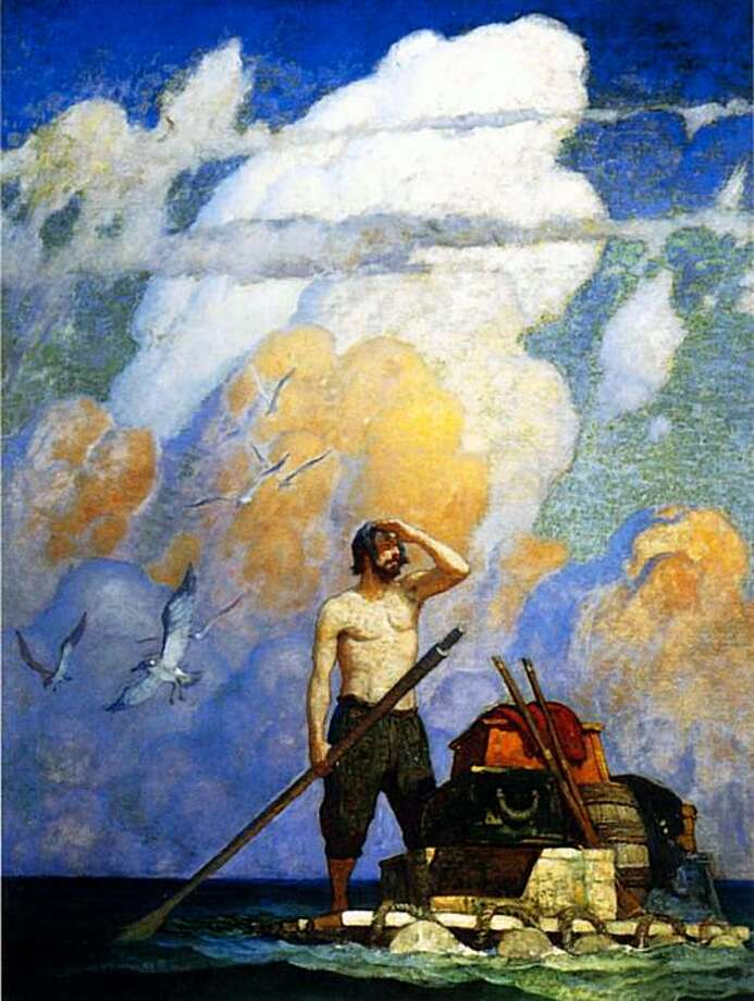 "This image provided by Christie's shows an oil painting by N.C. Wyeth titled """"For a mile, or thereabouts, my raft went very well,"" that illustrated an edition of ""Robinson Crusoe."" It is part of three generations of Wyeth artworks that will be auctioned next month, including 14 original oil canvases by N.C. Wyeth that  lavishly illustrated the classic adventure tale. The Dec. 2 sale at Christie's; includes works by N.C. Wyeth; his son; Andrew; and grandson; Jamie. (AP Photo/Christie's) Photo: AP"