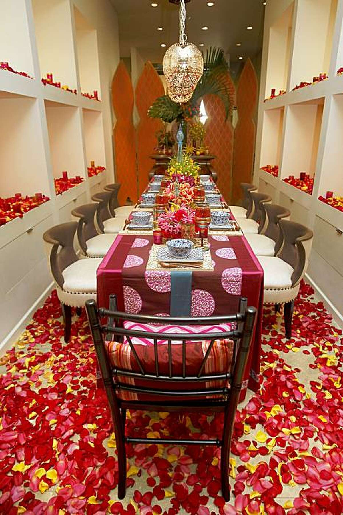 A table design by Patrice Bevans in San Francisco, Calif., on Wednesday, November 18, 2009. The San Francisco Design Center hosts Dining By Design, a benefit event that showcases over-the-top tablescapes by Bay Area designers.