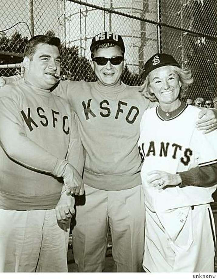 circa 1962, with Newman flanked by JFK Press Secretary Pierre Salinger and Phyllis Diller at a KSFO softball game. No known photo credit. Photo: Unknonw