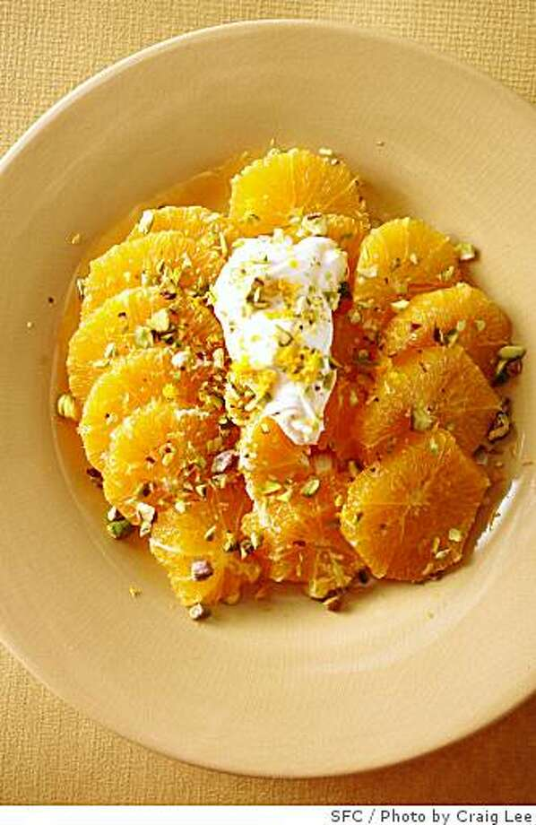 Grilled oranges with agave yogurt sauce and pistachios, in San Francisco, Calif., on June 12, 2008. Food styled by Maryann Smitt.Photo by Craig Lee / The Chronicle Photo: Photo By Craig Lee, SFC