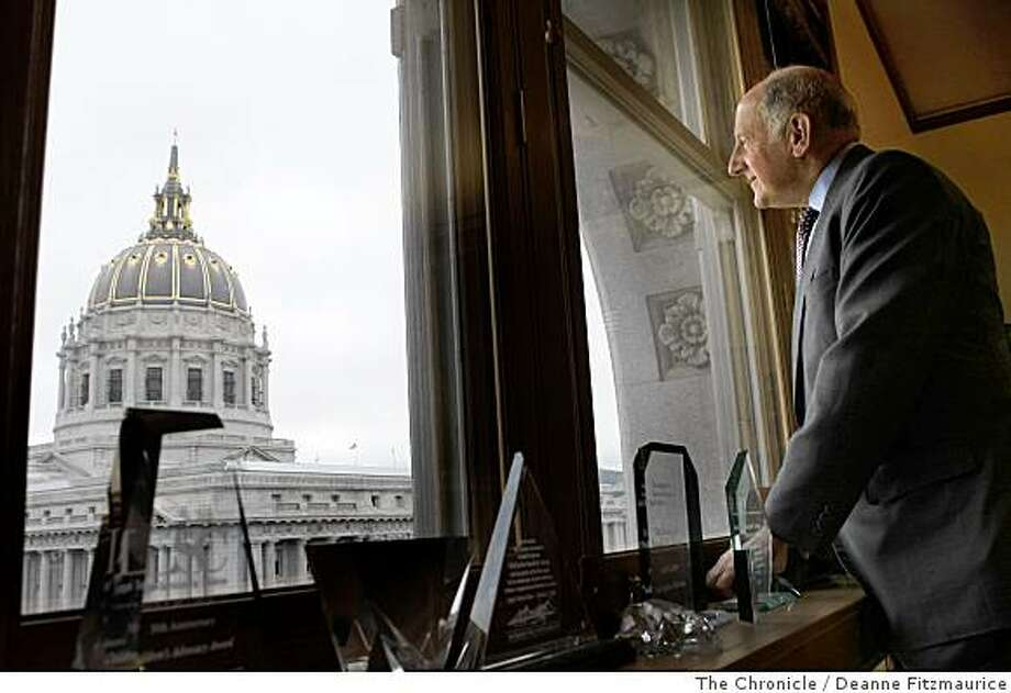Chief Justice of California, Ronald George, author of the Supreme Court's ruling legalizing same-sex marriage, has an office and chambers overlooking City Hall in San Francisco, Calif. on May 30, 2008. Photo: Deanne Fitzmaurice, The Chronicle