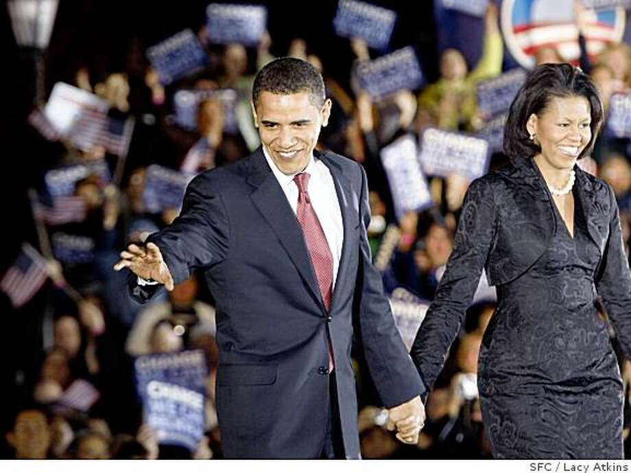 Democratic Presidential Candidate Barack Obama and his wife Michelle greet supporters, as the votes are being tallied in the primaries, Tuesday,  March 4, 2008, in San Antonio, Texas.Photo by Lacy Atkins / San Francisco Chronicle Photo: Lacy Atkins, SFC