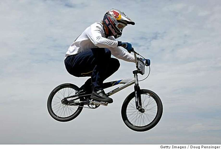 Mike Day of Santa Clarita, California takes his time trial run as he went on to win the USA Olympic Trials for BMX and earn a spot on the USA Olympic Team at the Olympic Training Center on June 14, 2008 in Chula Vista, California. Photo: Getty Images
