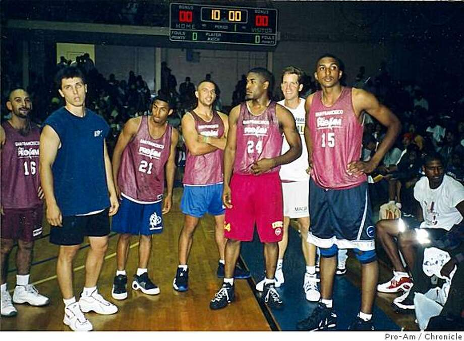 Members of Bay Pride, 1996 San Francisco Pro-Am Basketball Championship team from left: Bryan Beasley, Rex WQalters, Eddie House, Jason Kidd, Jaha Wilson, Darren Brown, Abdur Rahim. Photo: Chronicle, Pro-Am