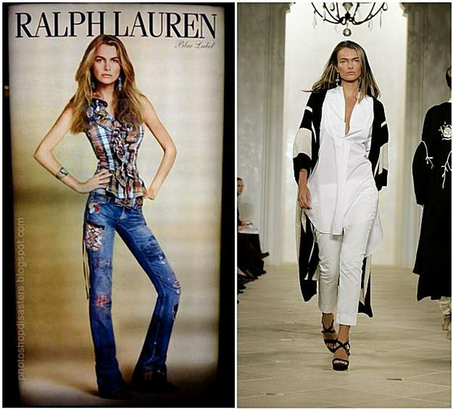 "This combination photo shows, at left,  an undated and digitally altered Ralph Lauren advertisement of model Filippa Hamilton displayed in a Japanese department store and posted on several Web sites, and, at right, a runway photo of Hamilton in New York from Sept. 15, 2006. The former Ralph Lauren model whose image in a roundly criticized advertisement was digitally slenderized said Wednesday Oct. 14, 2009 that the apparel maker did not renew her contract because she was ""too large."" Polo Ralph Lauren Corp. is contending that it dismissed Hamilton because of a contract dispute and that the photo was mistakenly released. (AP Photo) NO SALES Photo: Richard Drew, AP"