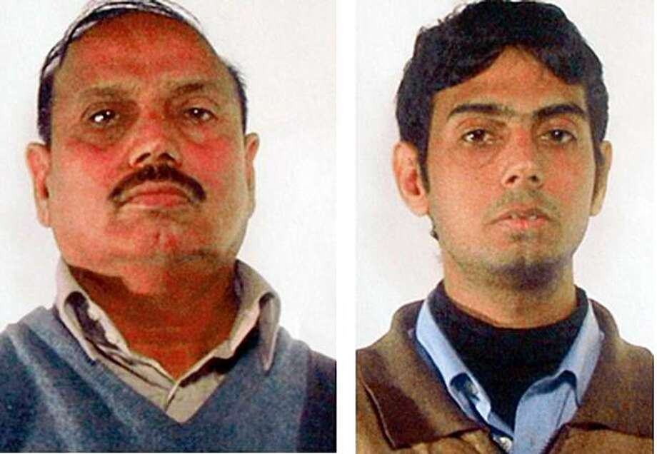 ** TWO PICTURE COMBO ** A photo reproduction of pictures made available by the Italian Police, Saturday, Nov. 21, 2009, showing two men identified as 60-year-old Mohammad Yaqub Janjua, left, and his son, 31-year-old Aamer Yaqub Janjua, both of Pakistan, who were arrested in an early morning raid in Brescia, northern Italy, where they managed a money transfer agency. They are accused of helping fund and providing logistical support for last year's terrorist attacks in Mumbai, India, authorities said. The day before the attacks began on Nov. 26 they allegedly sent money using a stolen identity to a U.S. company to activate Internet phone accounts used by the attackers and their handlers. (AP Photo/Felice Calabro) Photo: Felice Calabro, AP