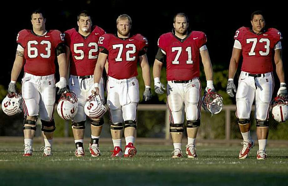 "The Stanford University Football team's offensive line,  Chris Marinelli, The Stanford Football team's offensive line has given themselves a new name, the ""Tunnel Workers Local 88"", the starters ( left to right) Chris Marinelli, David DeCastro, Chase Beeler, Andrew Phillips and Jonathan Martin in Palo Alto, Calif., on Tuesday November 17, 2009, as they prepare to take on Cal this Saturday in the ""Big Game"". Photo: Michael Macor, The Chronicle"