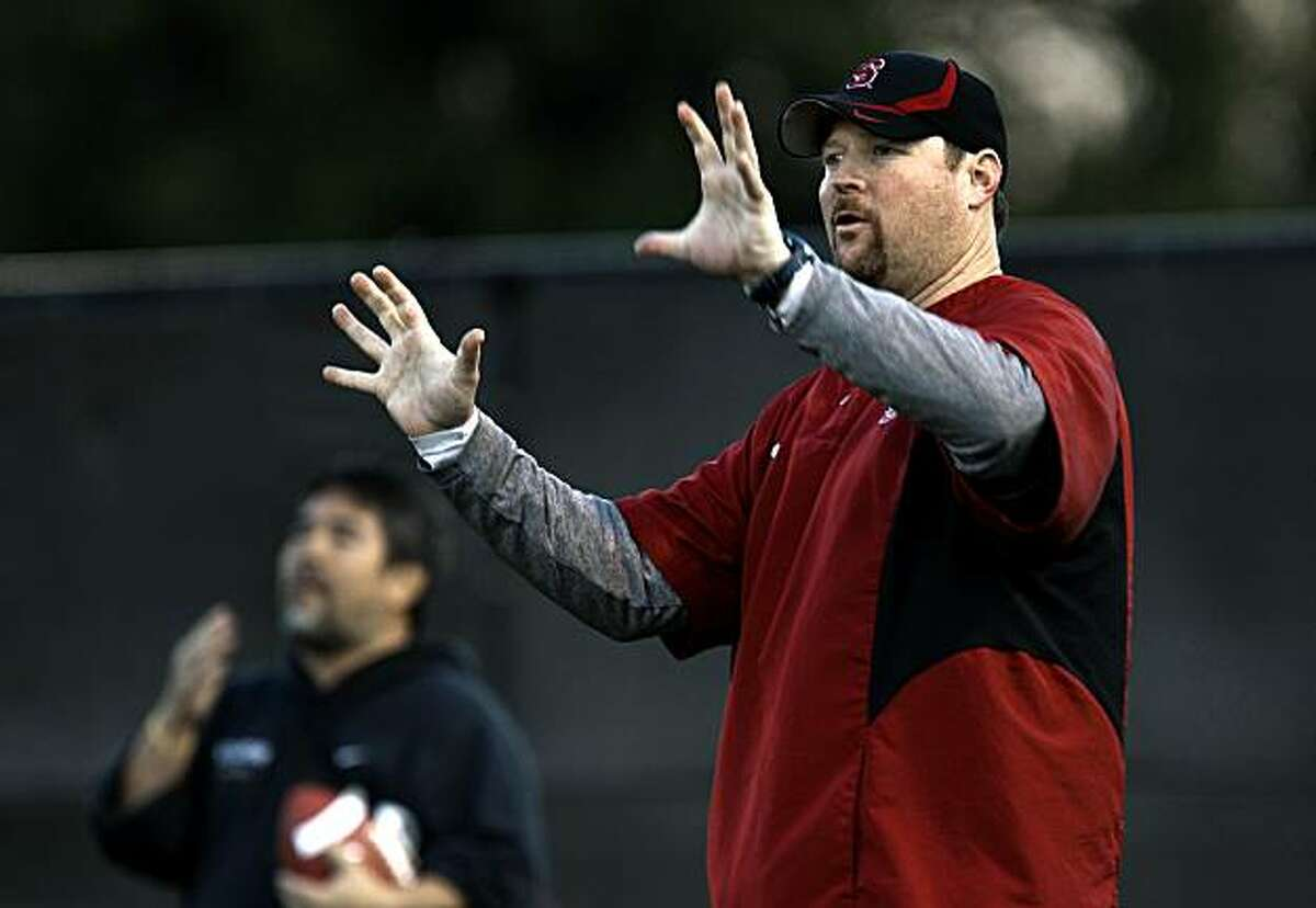 The Stanford University Football team, offensive line coach Tim Drevno, during practice in Palo Alto, Calif., on Tuesday November 17, 2009, as they prepare to take on Cal this Saturday.