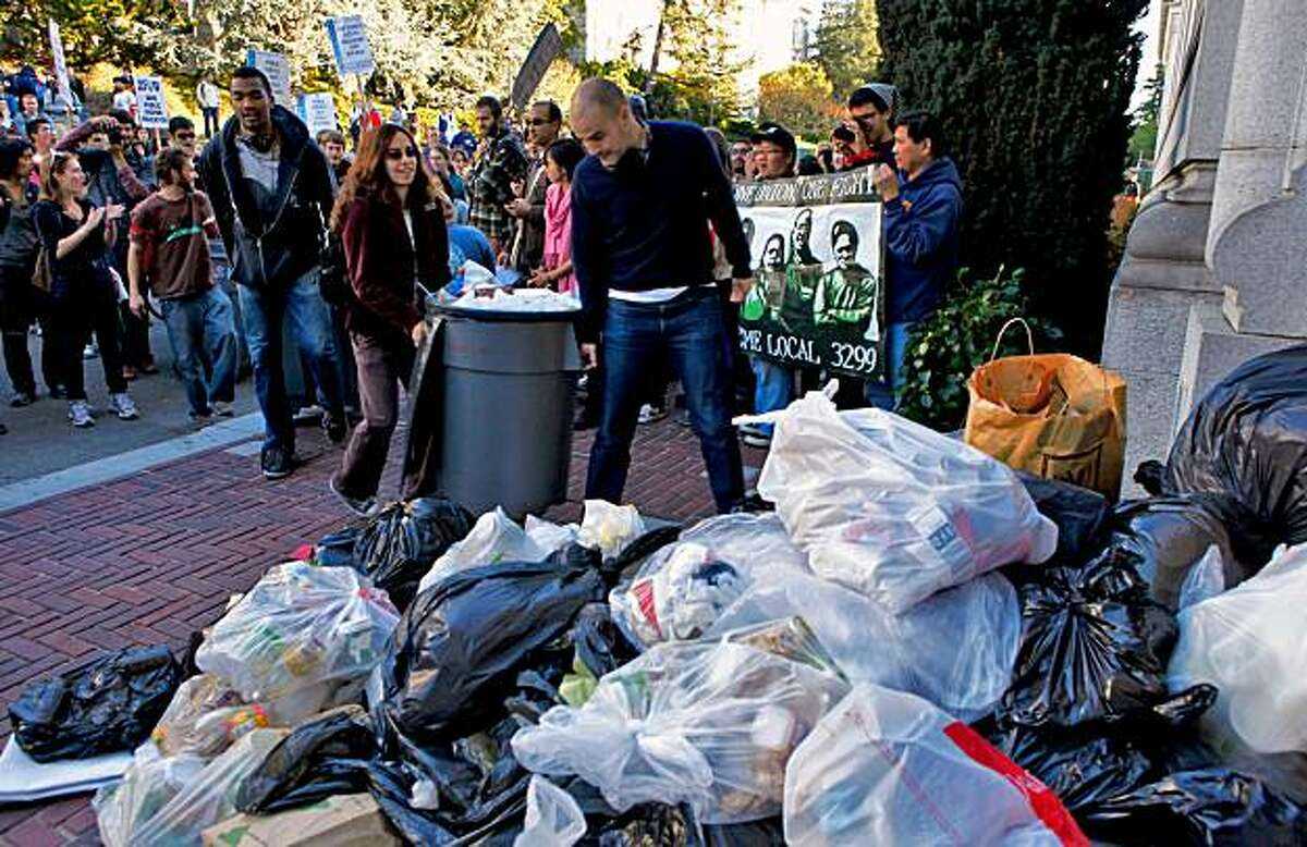 Students protest the regents decision to raise tuition rates by dumping trash at the front door of the California Hall on the campus at UC Berkeley, Thursday Nov. 19, 2009, in Berkeley, Calif.