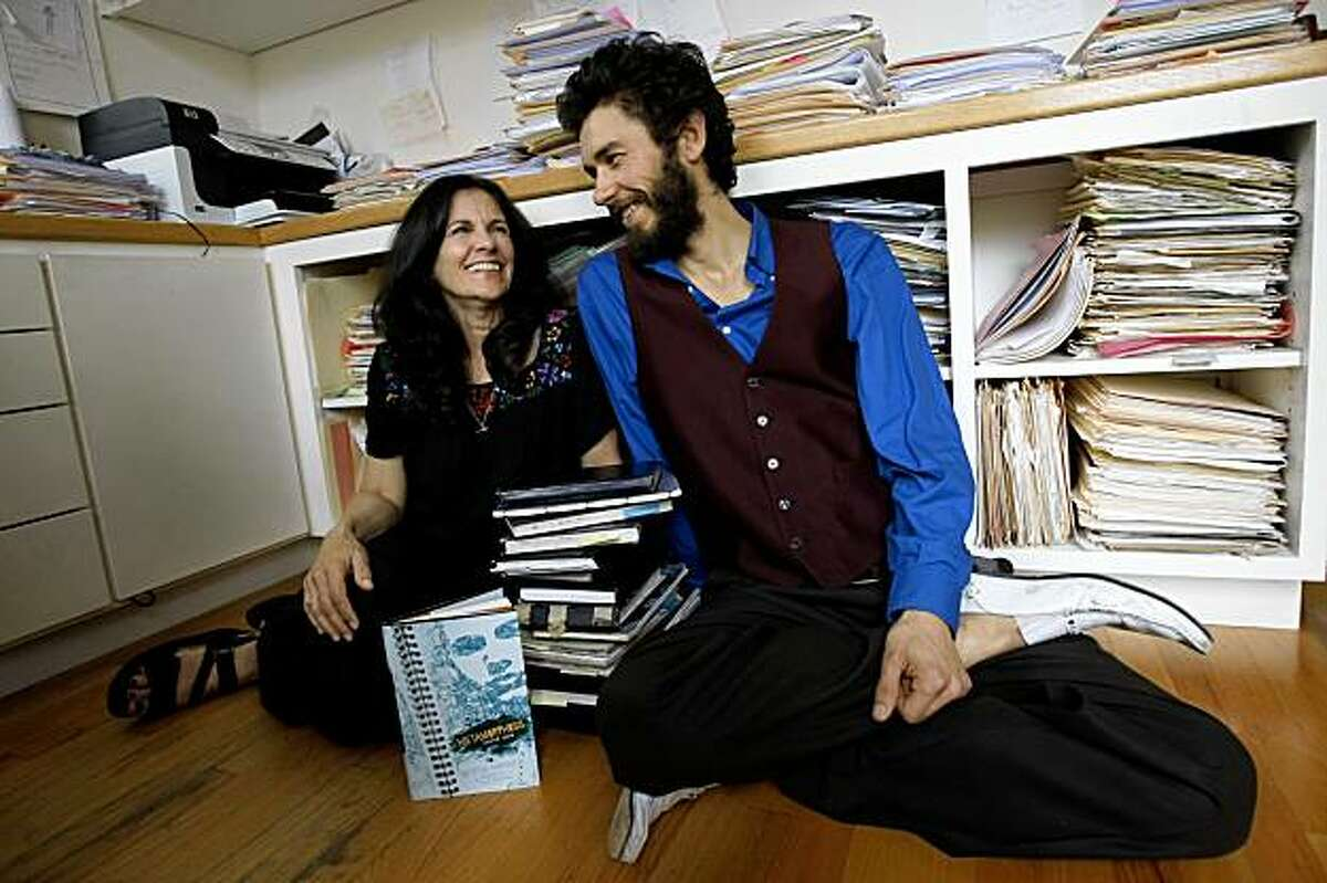 Author, Betsy Franco, left, and her son, Tom Franco, an artist and sculptor, right, sit in Betsy's home office in Palo Alto, CA Tuesday, November 10, 2009. Betsy and Tom have collaborated on a new young adult book titled