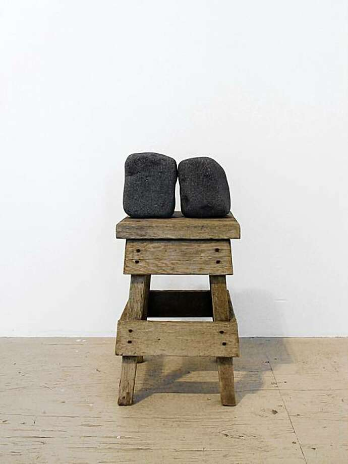 """Untitled"" (2009) rocks on stool by Tucker Nichols   26"" x 12"" x 11"" Photo: Vanessa Blaikie, Gallery 16, S.F."