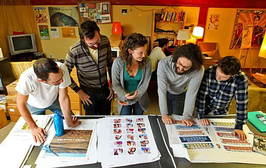 Jesse Nathan, ( left) Jordan Bass, Michelle Quint, Brian McMullen, and Christopher Benz look over the proofs of the new publication published by McSweeneys and independent house,  Thursday Nov. 5, 2009, in San Francisco, Calif. Photo: Lacy Atkins, The Chronicle