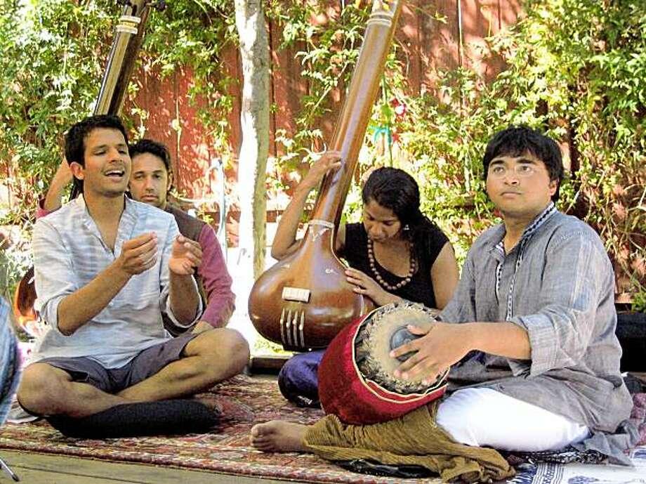 Gautam Tejas Ganeshan, left, with Anantha R. Kirshnan, Matthew Raim and Deepa Preeti Natarajan perform Saturday at the Asian Arts Museum Photo: Courtesy, Harshal Jawale