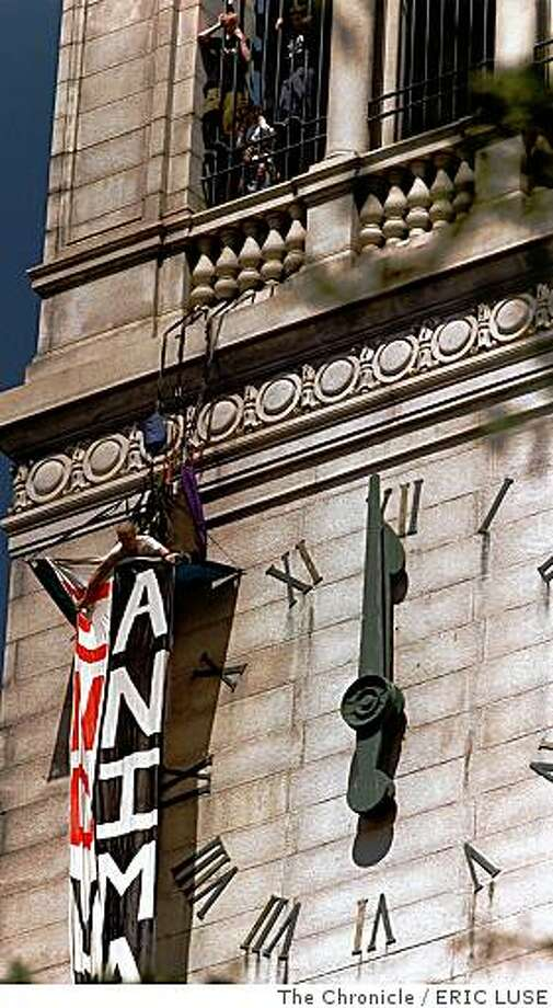 ANIMALS/C/21APRIL98/MN/EL Mike Kennedy,Davis, attempts to unvail a banner on UC Berkeley's Campanile bell tower protesting the use of animals in laboratory testing at UC Berkeley. He is member of Animal Rights Direct Action Coalition. Photo: ERIC LUSE, The Chronicle