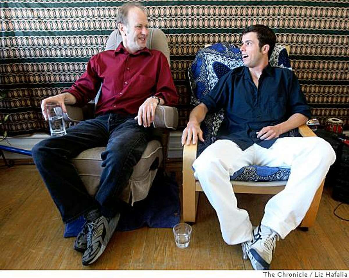 Actor/playwrights Geoff Hoyle and his son, Dan Hoyle, in Dan's apartment in San Francisco, Calif., on Tuesday, June 10, 2008.Photo by Liz Hafalia/The Chronicle