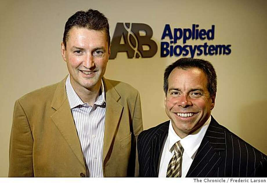 Mark Stevenson, President and CEO of Applied Biosystems (left) and Greogory T. Lucier, CEO of Invitrogen pose for a photographed at Applied Biosystems lobby in Foster City, Calif., on June 12, 2008. 6/12/08Photo by Frederic Larson / The Chronicle Photo: Frederic Larson, The Chronicle