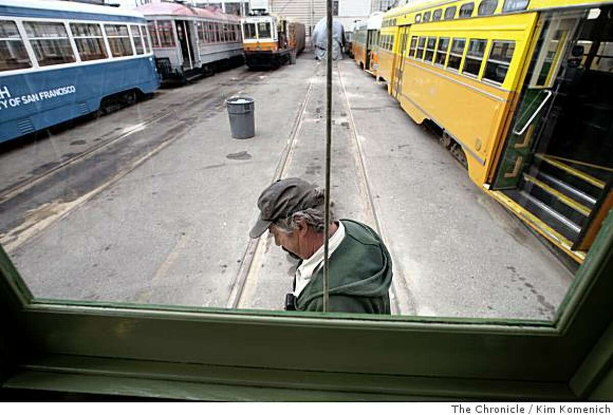 Karl Johnson, Maintenance Supervisor of the San Francisco Municipal Railway's Geneva Car House in San Francisco, Calif., walks next to the