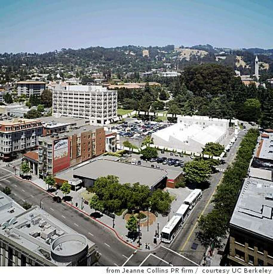 Photograph showing the block -- dotted line is site outline -- where UC Berkeley has proposed a new home for the Berkeley Art Museum and the Pacific Film Archive. The portion of the block in front of the dotted line is where a mixed-use tower with a conference center might go. The campus is in the background Photo: Courtesy UC Berkeley, From Jeanne Collins PR Firm