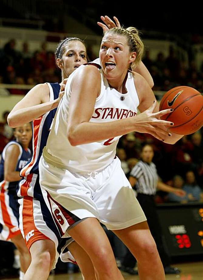 Stanford forward Jayne Appel (2) is closely covered by Pepperdine's Alex Jarrell (44) in the first half of an NCAA college basketball game in Stanford, Calif., Thursday, Nov. 19, 2009. (AP Photo/Paul Sakuma) Photo: Paul Sakuma, AP