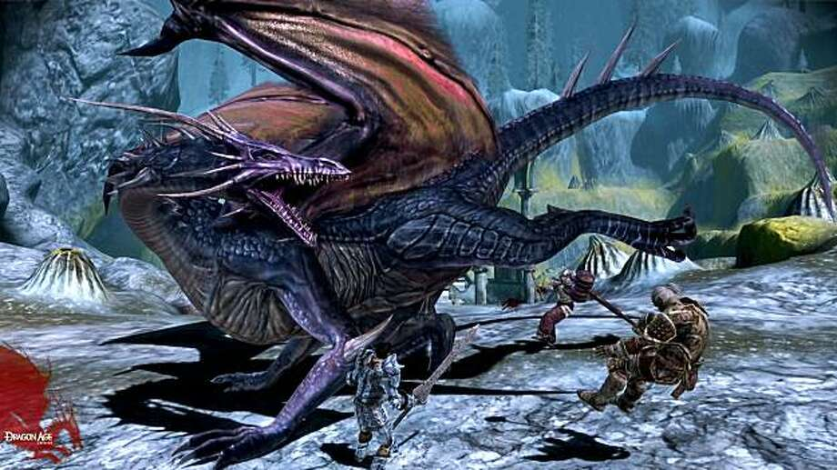 "In this video game image released by Electronic Arts, heroes battle a high dragon in a scene from,  ""Dragon Age: Origins."" (AP Photo/Electronic Arts) Photo: Electronic Arts, AP"