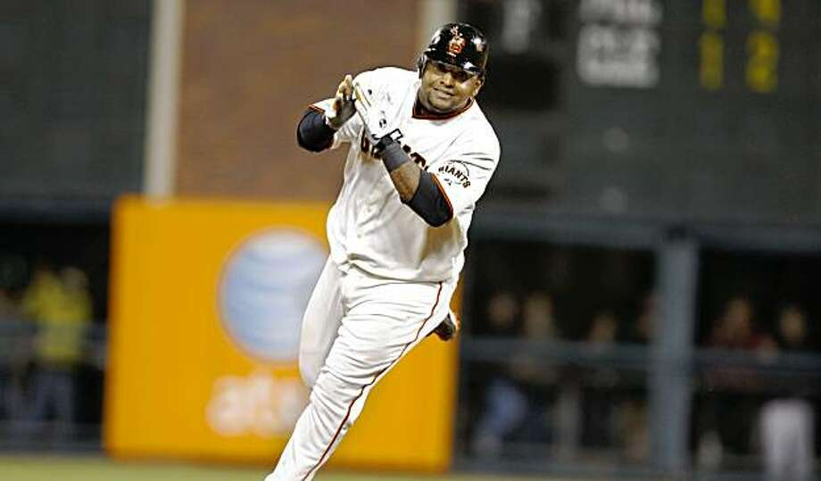 Pablo Sandoval runs the bases after hitting a home run in the the bottom of the ninth inning during the San Francisco Giants  game against the  California Angels at AT&T Park in San Francisco, Calif. on Monday, June 15, 2009. Photo: Lea Suzuki, The Chronicle